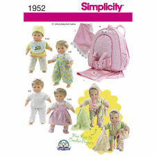 """Simplicity SEWING PATTERN 1952 15""""/38cm Baby Doll Clothes,Blanket,Doll Carrier"""
