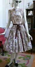1950`s Sweet Cotton Floral Afternoon / Tea dress Light Brown & Beige & Yellow  M