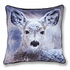 Catherine Lansfield Deer Designer Velvet Animal Brown Black 43x43 Cushion Cover