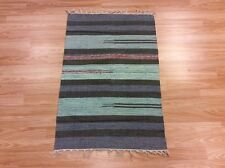 Striped Blue Black Handloomed 100% Cotton Rag RUG Durrie Mat 60x90cm 2x3 50%OFF