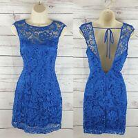 Lipsy London Blue Lace Bodycon Wiggle Dress UK Size 10