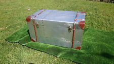 Industrial Aluminium Silver Aviator Bedside Chest Trunk Table Vintage Retro Used