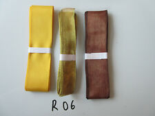 R06 Job Lot 3 Ribbons, Gold Colour, Brown & Yellow