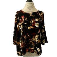 J Jill Black Red Floral 3/4 Sleeve Rayon Blouse Size Medium Petite