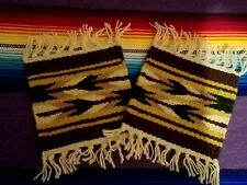 """New 2 Coasters Table Rugs 6x6"""" Handwoven Loomed  Southwestern! Brown"""