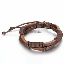 Double Layer Men Women Unisex Leather Bracelet Black/Brown Adjustable Size