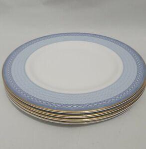"""Royal Doulton 4x Salad 8"""" Plate Set Fine Bone China 2001 Classics Rosetti Blue"""