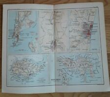 Antique ORIGINAL map of Singapore and Hong Kong in the 1880s