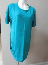 NY Collection Sweater L short Sleeve Knit turquoise long leggin sweater-nwot