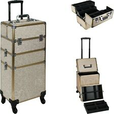 Rolling Makeup Case on Wheels with Aluminum Trimming & 2 Removable Trays - VT003