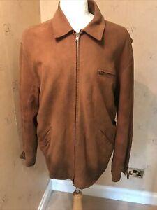 Ralph Lauren Polo Vintage Brown Suede Leather Car Coat Jacket L 46 Chest
