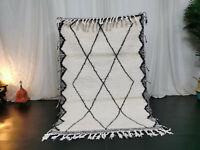 "Handmade Beni Ourain Moroccan Carpet 3'4""x5'2""  Berber Geometric White Wool Rug"
