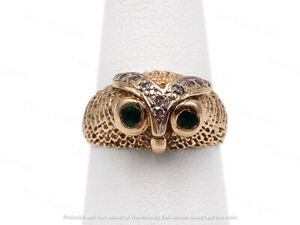 1Ct Round Cut Green Emerald Owl Face Engagement Men's Ring 14K Rose Gold Finish