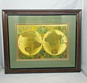 "Nova Totivs Terrarvm Orbis Geographica  Tabvla Gold Foiled World Map 19"" x 23"""