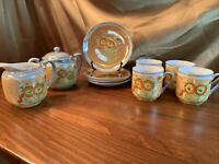 10 pc Made in Japan Lusterware Tea Set with Hand Painted Design