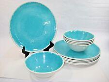 11 Piece Melamine Dinner Plate Bowls Rustic Turquiose Aqua Light Blue White Edge