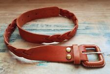 """ANTONIO BARRAL Brown Braided Top Grain Leather Boho Belt Mexico Size XS 28"""""""