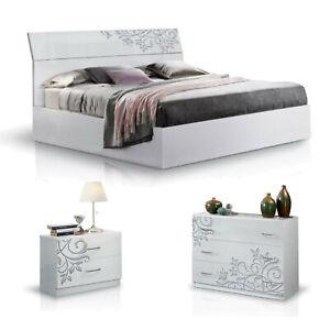 MF Camera da letto completa Matrimoniale Mary con Letto 2 comodini 1 cassettiera