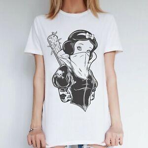 Womens Rebel Snow White Flash Tattoo Clothing Inspired Ink Top Punk Rock Grunge