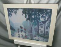 "Vintage 1991 Remi Clark Print Baie Comeau 24""L x 20""W Wood Board Quebec"