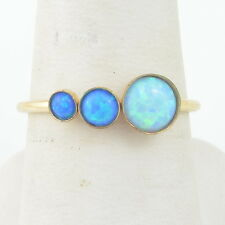Handmade Vintage 14K Gold Filled Ring Size 7.75 with 6, 4, 3mm Blue Fire Opals