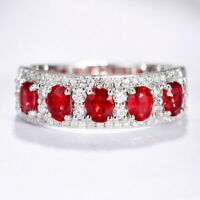 2Ct 100% Natural Diamond 14K White Gold Oval Pigeon Blood Red Ruby Ring RWG214