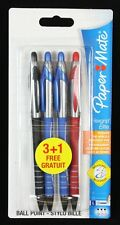 4 x Papermate Flexgrip Elite Retractable Ballpoint Pens Broad Black Red Blue x2