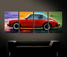 Pop Art Rojo PORSCHE 911 Cuadro Lienzo Pared Vintage TARGA Clásico Nostalgia