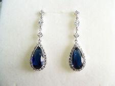 Orecchini donna pendenti argento 925 ,zirconi bianchi e blu idea regalo Earrings