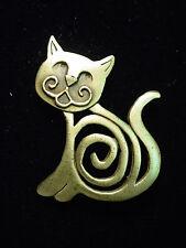 """JJ"" Jonette Jewelry Bronze Pewter 'SWIRL Cat' Pin"