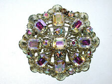 Gorgeous CORO Designer Signed Asscher Shaped Aurora Borealis Crystals Pin/Brooch