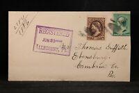 Pennsylvania: Allegheny 1888 Registered Cover to Ebensburg, Rectangular Marking