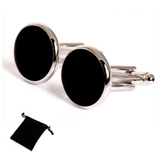 Classic Onyx Black Cufflinks with Drawstring Pouch from Dickie Bows #292