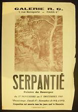 Affiche exposition Roger Serpentié 17 novembre 1969 Galerie R G Paris VI