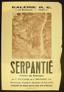Manifesto Esposizione Roger Serpentie 17 Novembre 1969 Galleria R G Parigi VI