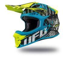 UFO Intrepid Motocross Helmet Black Sky Blue Neon Yellow, Medium (57 - 58cm)
