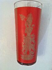 Vintage Mid Century Barware  highball tumbler red Indian Asian Princess Unique!