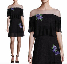 NWT Tadashi Shoji ABELLE Off Shoulder Illusion Ruffle Dress Black Size 10