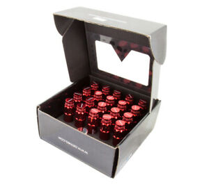 NRG STEEL EXTENDED LOCKING LUG NUTS & DUST CAP COVER SET 12X1.5 RED Set of 20