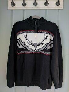 Chaps Mens XL Sweater Half Zip Deer Black Cotton Nordic Ski Fair Isle 1/4 1/2