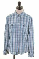 ESPRIT Womens Shirt Size 12 Medium Blue Madras Cotton  C117
