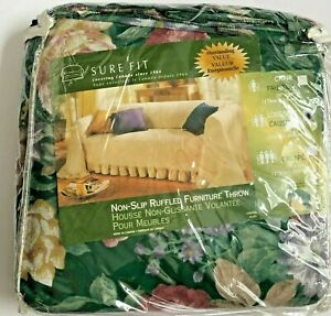 New Sure Fit NON-SLIP LARGE LOVESEAT Throw Slipcover Green PETS Rtl $129