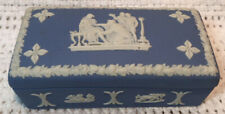 Vintage Wedgwood Jasperware Pale Blue Rectangle Trinket Box Made In England