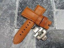 24mm Amber Brown CALF Leather Strap Brush Watch Band Buckle Set PANERAI BR