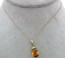 10KY GOLD NECKLACE W/ CITRINE PENDANT & 10KY GOLD BALE
