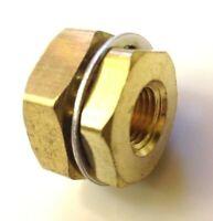"Brass Bulkhead Fitting 1/4  Female NPT x 3/4"" Dia. x  0.94"" long"