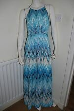 KENJI Maxi Long Blue Multicolour Zig Zag Holiday Cruise Dress UK 8 EU 34 BNWT