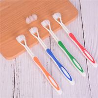 1x Health Green color Three Head 3 Sided Toothbrush Ultrafine Soft Bristle BDAU