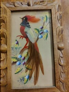 Pair Vintage Mexican Folk Art Feathercraft Bird Feather Picture Wood Frame LOT