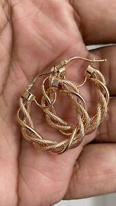 14k Rose Gold Ladies Twisted Rope Milor Italy Hoop Earrings for pierced Ears